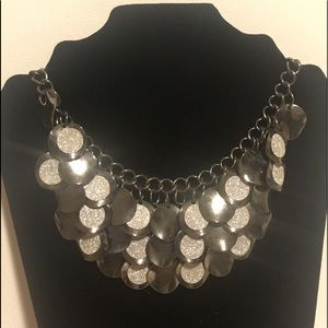 22in. Costume jewelry necklace Black/silver metal